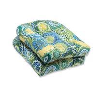 Pillow Perfect Outdoor Omnia Lagoon Wicker Seat Cushion, Set