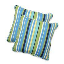 Pillow Perfect Outdoor Topanga Stripe Lagoon Throw Pillow,