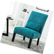 Roundhill Furniture Pisano Teal Blue Fabric Armless