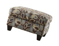 Poundex Cocktail Ottoman with Leaf Patterned Fabric