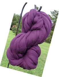 Purple Grape Wool Top Roving Fiber Spinning, Felting Crafts