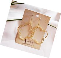 "Quatrefoil or Clover Earrings 1 3/4"", 2"", or 2 1/2"" In Gold"