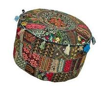 "Rajasthali"" Bohemian Patch Work Ottoman Cover,Traditional"