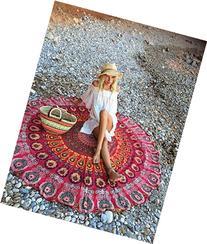 RawyalCrafts Indian Feather Mandala Round Roundie Beach
