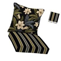 Reversible Black Tropical Floral Blossom Outdoor Deep Seat