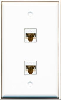 RiteAV 1 Gang 2 Port Cat6 Wall Plate - White