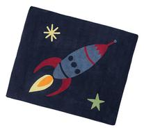 Rocket Ship Accent Floor Rug for Space Galaxy Kids Bedding