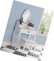 Roundhill Furniture Ribbon Wood Make-Up Vanity Table and