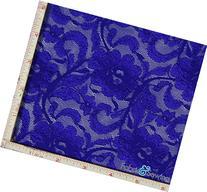 Royal Blue Flower with Leaf Stretch Lace Fabric 4 Way