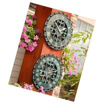 Rustic Antique Outdoor Wall Clock and Thermometer Set of 2 -