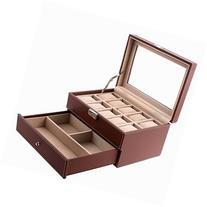 SONGMICS Brown Watch Box Faux Leather Jewelry Case Watch