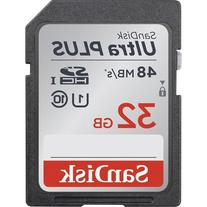 Sandisk - Ultra Plus 32gb Sdhc Class 10 Uhs-1 Memory Card -