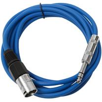 "Seismic Audio - SATRXL-M10 - Blue 10' XLR Male to 1/4"" TRS"