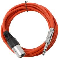 "Seismic Audio - SATRXL-M10 - Red 10' XLR Male to 1/4"" TRS"