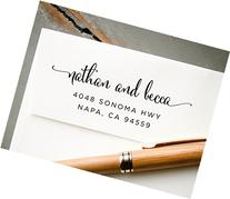 Self-Inking Hand Calligraphy Font Return Address Stamp, Pre-