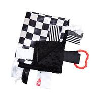 Sensory Baby Tag Blanket, Racing Checkered Flag Lovey for Any Nascar Fan, 14