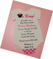 Set of 10 Pink Minnie Mouse Baby Shower Invitations - All