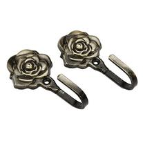 Set of 2, Rose Pattern Metal Design Curtain Hooks Home