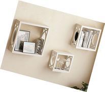 Set of 3 White Square Cube Wall Shelves , Larger Shelf Set