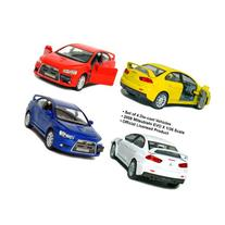 "Set of 4: 5"" 2008 Mitsubishi Lancer Evolution X 1:36 Scale"