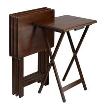 Set of 4 Single TV tables, Rectangular, Walnut