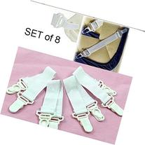 Set of 8 Bed Sheet Grippers with Plastic Clasps Garter Style