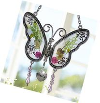 Sister Butterfly Suncatcher with Pressed Flower Wings -