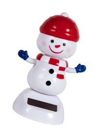Solar Powered Dancing Christmas Snowman with Blue Mittens