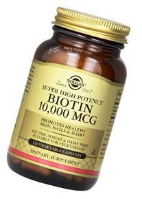 Solgar, Biotin, 10,000 Mcg, 120 Veggie Caps. 2 Pack