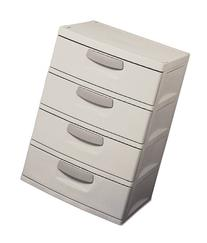 Sterilite 01748501 4-Drawer Unit with Putty Handles, Light
