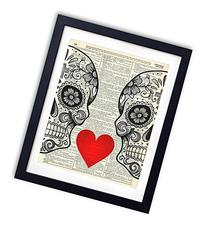 Sugar Skull Love With Flowers Upcycled Vintage Dictionary