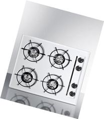 "Summit WNL033 24"" Wide Gas Cooktop in White, with Four"