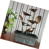 Sunnydaze Cascading Five Leaves Tabletop Fountain with LED