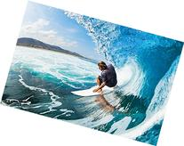Surfer wave photo wallpaper - surfer catching a wave mural