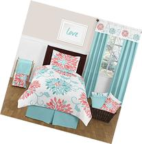 Turquoise and Coral Emma 4 Piece Kids Teen Modern Twin