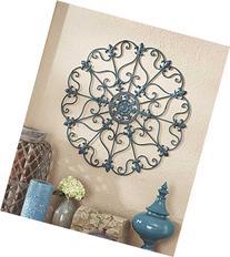 Teal Turquoise Fleur De Lis Metal Vintage Style Ornate