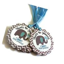 Thanks for Showering Elephant Favor Tags for Baby Boy Shower