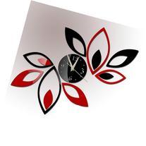 Toprate Mirror Wall Clock, Red and Black Rhombus Leaves