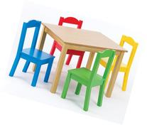 Tot Tutors Kids Wood Table and 4 Chairs Set, Natural/Primary