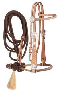 Tough-1 Premium Leather Floral Browband Headstall with 5/8