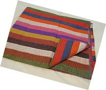 Tribal Asian Textiles Handmade Pure Cotton Bedspread Queen
