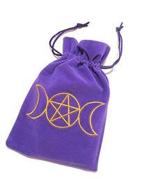 Triple Moon Goddess Embroidered Purple Luxury Velvet
