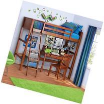 Twin Wood Loft Style Bunk Bed Walnut Color. Bedroom