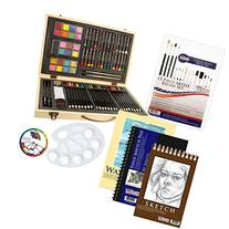 US Art Supply 82 Piece Deluxe Art Creativity Set in Wooden