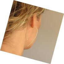 Unique Wishbone Earrings - Modern Gold Hoops - Teardrop Open