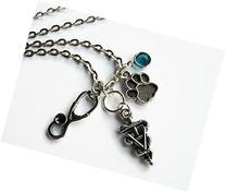 Veterinarian Necklace, Veterinary Doctor Jewelry, Rod Staff