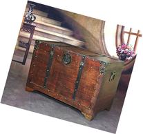 Vintiquewise Old Fashioned Wooden Storage Treasure Trunk