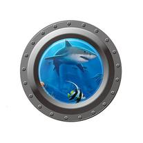 Vktech® Shark Ocean View Wall Sticker 3D Porthole Window