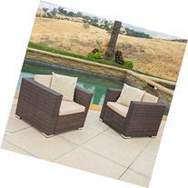 Westlake Outdoor Brown PE Wicker Sofa Club Chairs