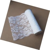 White Lace Ribbon Floral Trim Patterned 14-inch, 10 Yards